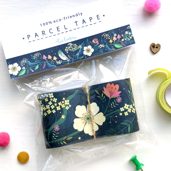 eco-friendly paper parcel tape illustrated by Bee Brown in a clear corn starch bag