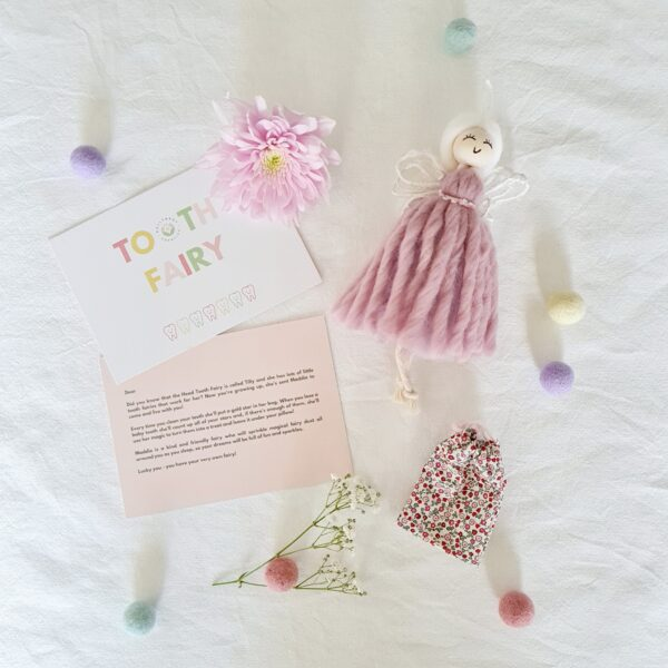 Dolly & Dot Creative, Pink Tooth Fairy with personalised note and Liberty of London fabric coin pouch