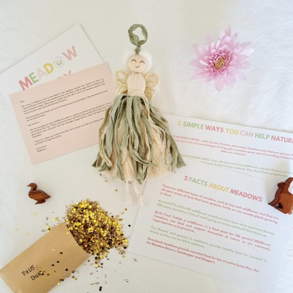 """Dolly & Dot Creative, personalised nature fairy """"Poppy"""", sage green skirt and primrose yellow wings, nature fact sheet and glittery wildflower seeds, for children"""