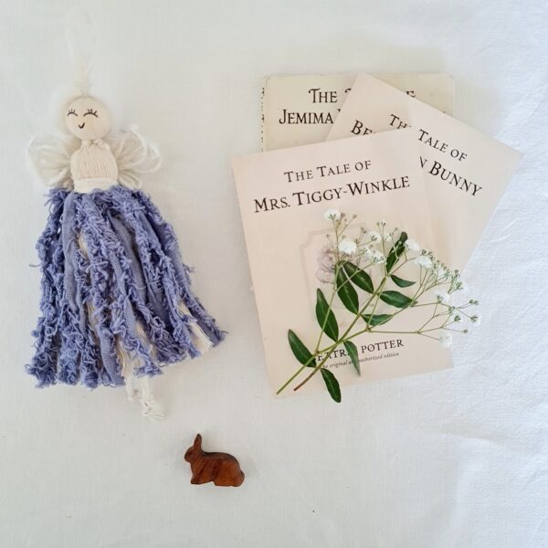 """Dolly & Dot Creative, personalised nature fairy """"Violet"""", wildflower seeds with glitter, nature fact sheet, purple skirt and white wings, for children"""