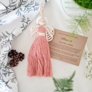 Dolly & Dot Creative, Kindness themed macrame guardian angel, pink angel dress with white wings