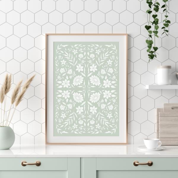 English sage green spring floral cottage kitchen wall hanging poster print