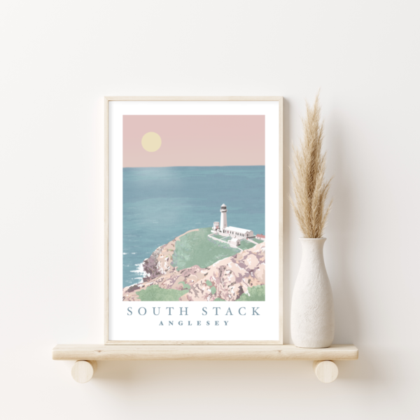 Welsh Costal Seascape Illustration Lighthouse beach Wall hanging Poster Print