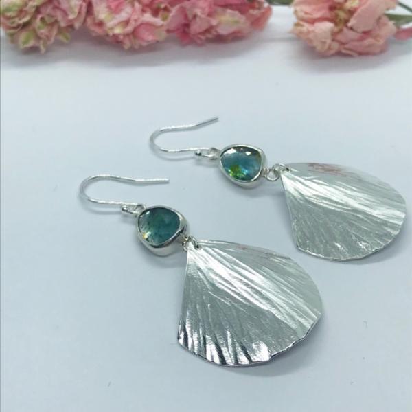 LorriSilverjewellery, blue tourmaline fan dangly earrings