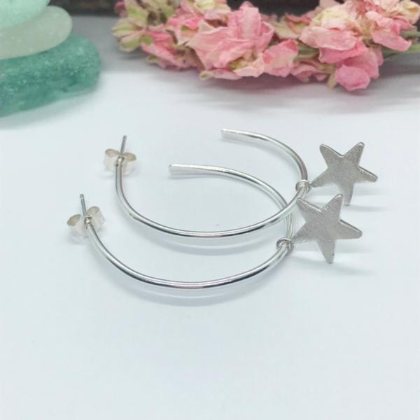 LorriSilverjewellery, Sterling silver hoops with stars, sparkling stars on hoops