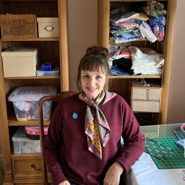 Me in my sewing room, embroidery artist