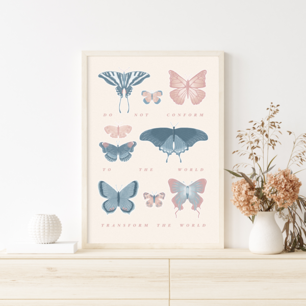 Inspirational Pink and Blue Butterfly Wall Hanging Kids Bedroom Poster Print