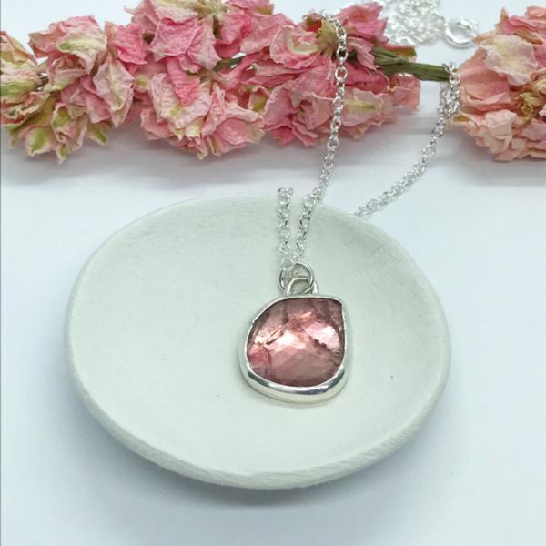 LorriSilverjewellery, peach tourmaline necklace on small bowl