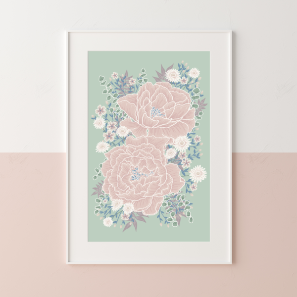 Sage green and blush pink peony flower print cottage country kitchen wall hanging poster print