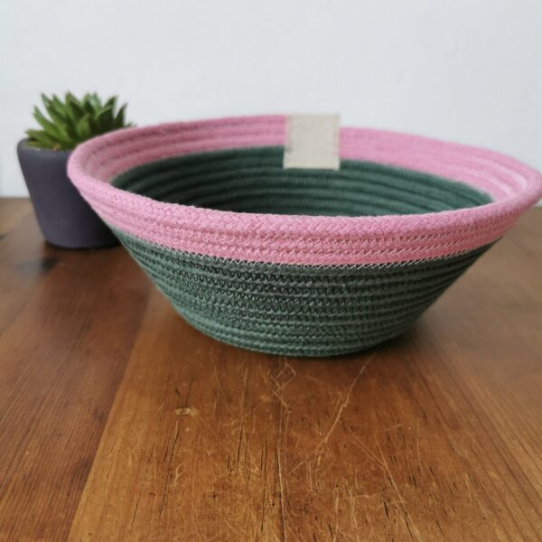 Daisy Makes, cotton rope basket in green with pink trim