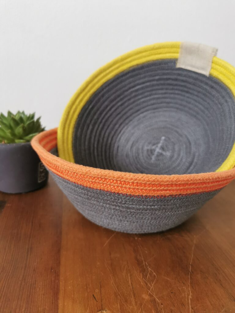 Daisy Makes, 2 cotton rope baskets in grey with yellow and orange trim