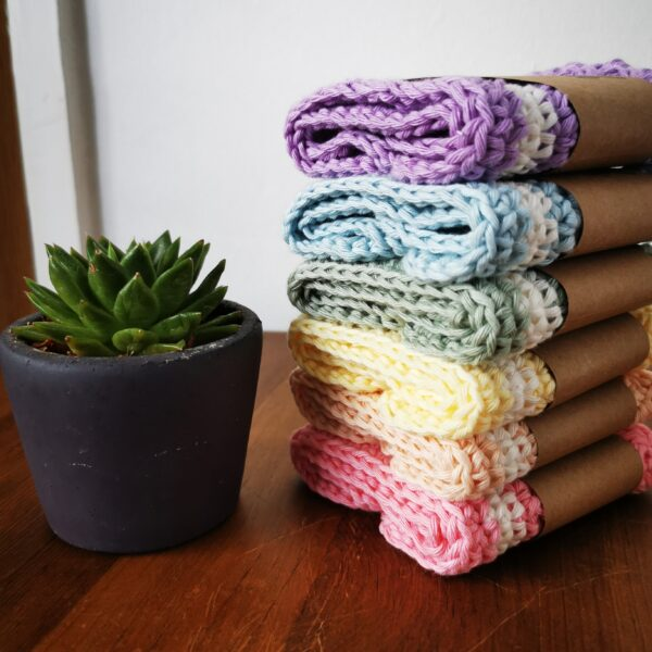 Daisy Makes, cotton washcloths in purple, blue, green, yellow, peach, pink