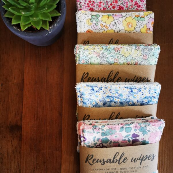 Daisy Makes, reusable wipes in Liberty fabric and bamboo towelling, in pink, yellow, green, blue, lilac
