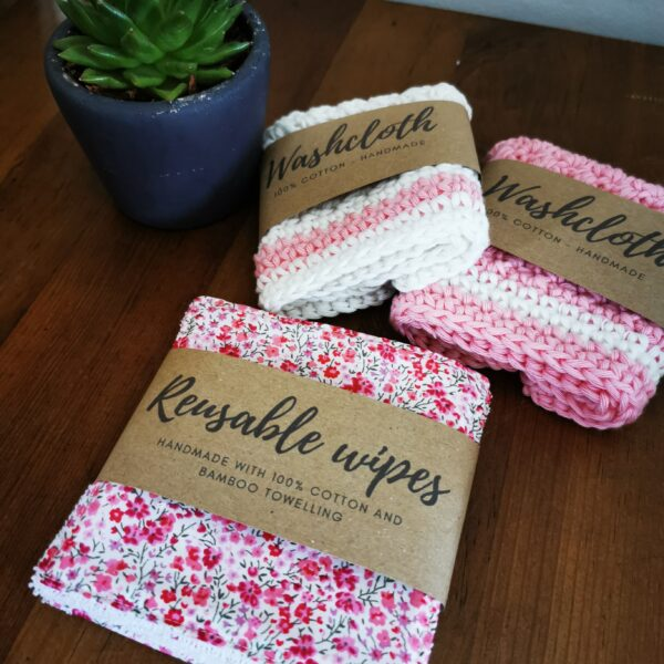 Daisy Makes, cotton washcloths and Liberty fabric and bamboo reusable wipes in pink