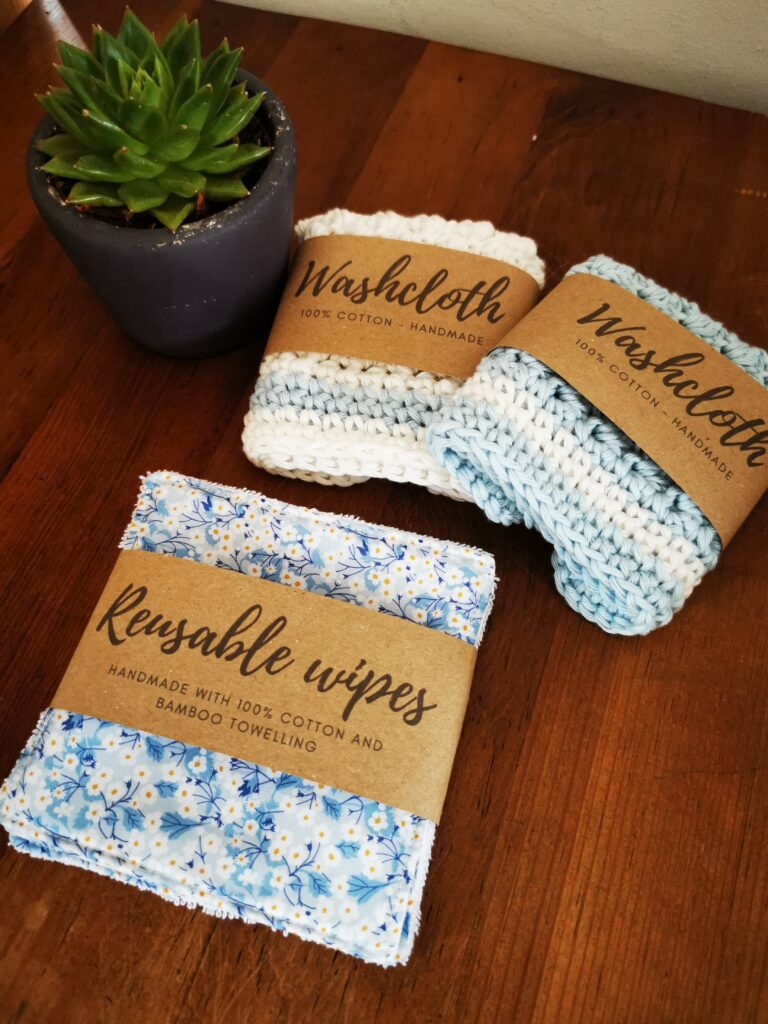 Daisy Makes, cotton washcloths and Liberty fabric and bamboo reusable wipes in blue
