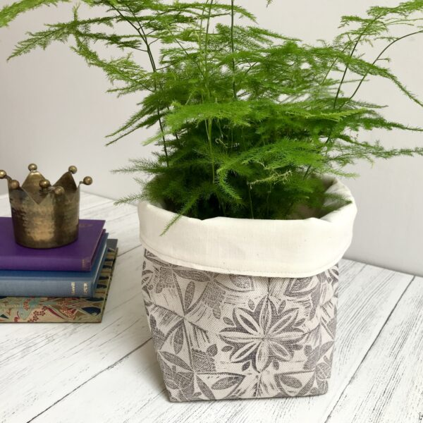 Cushie Doo Textiles Hand Printed Linen Storage Basket