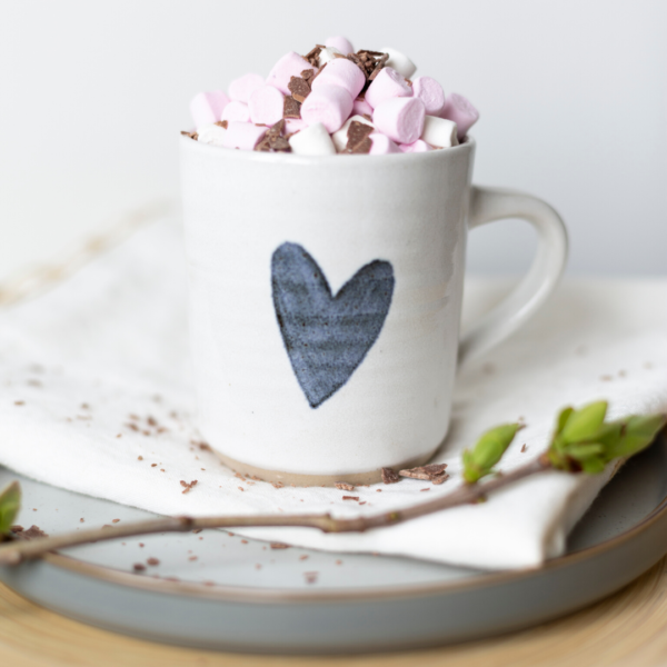 Rachel Carpenter Ceramics, Heart Mug with Marshmallows