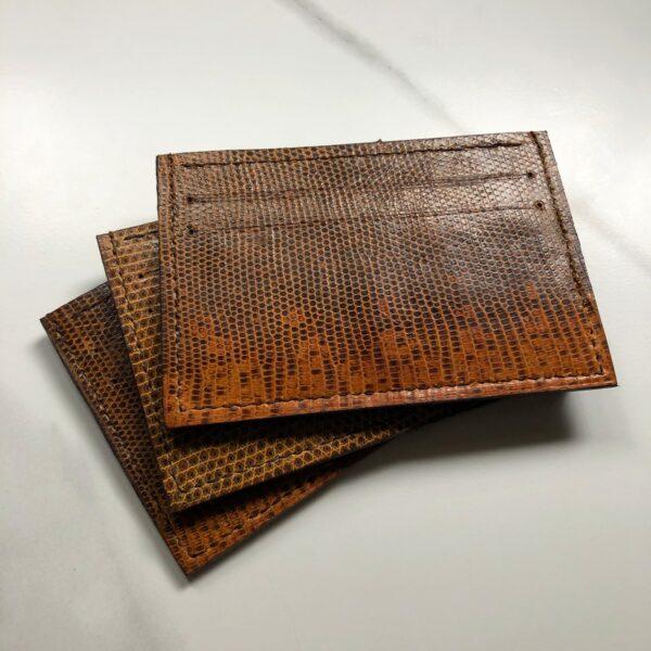 Paulo Vulpes atelier vintage lizard skin card slot holder, restored antique leather reimagined into luxury card wallets, tan lizard skin