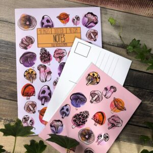 Horticolour illustration, watrcolour painted mushroom gift set. includes one 48 page notebook and one postcard.