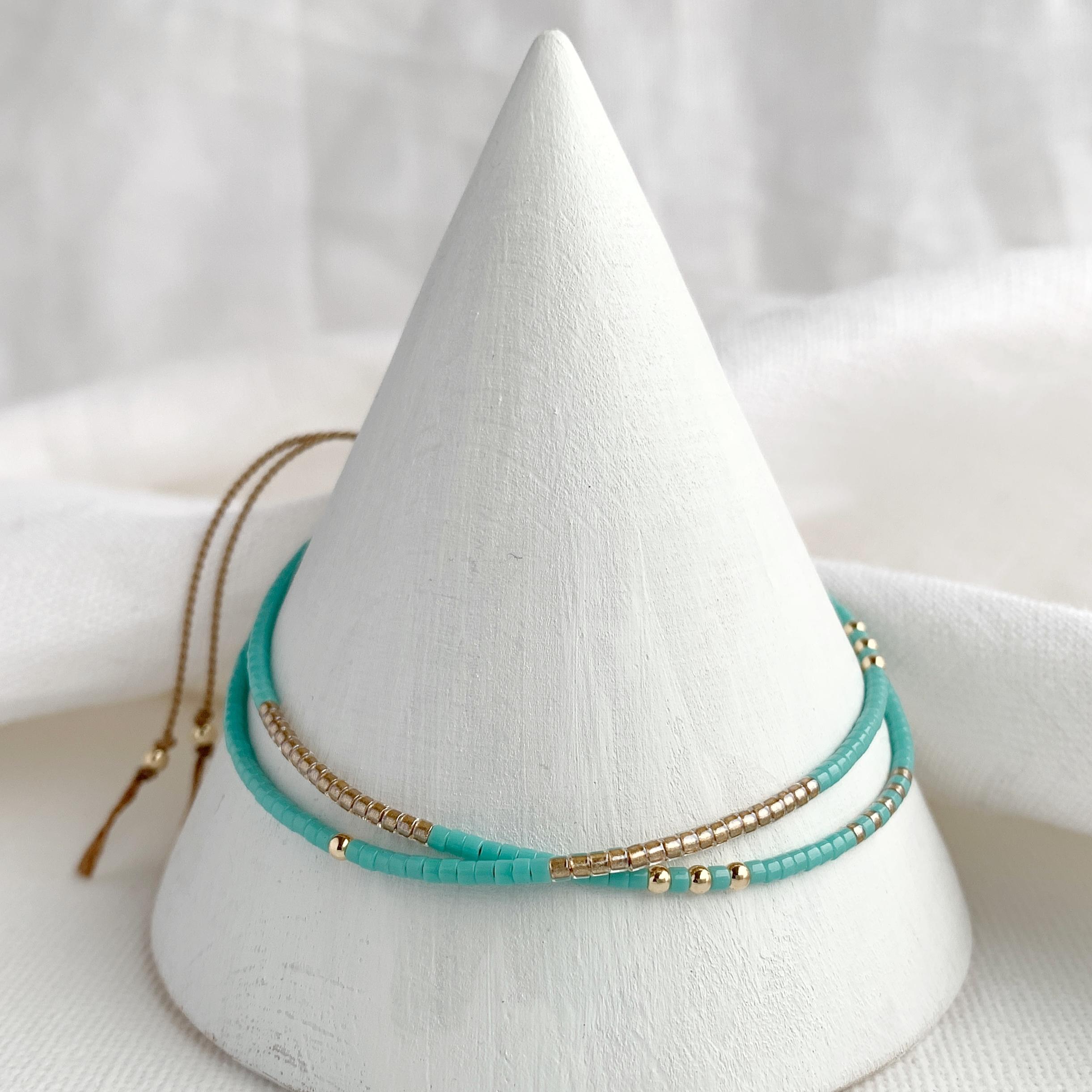 Hardy to Hudson, Turquoise Gold Double Wrap Bracelet