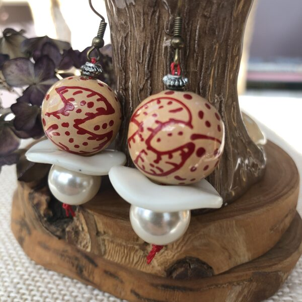 Hat Not Lettuce, handmade upcycled drop earrings using pre-loved beads, one of which is hand-painted, wooden
