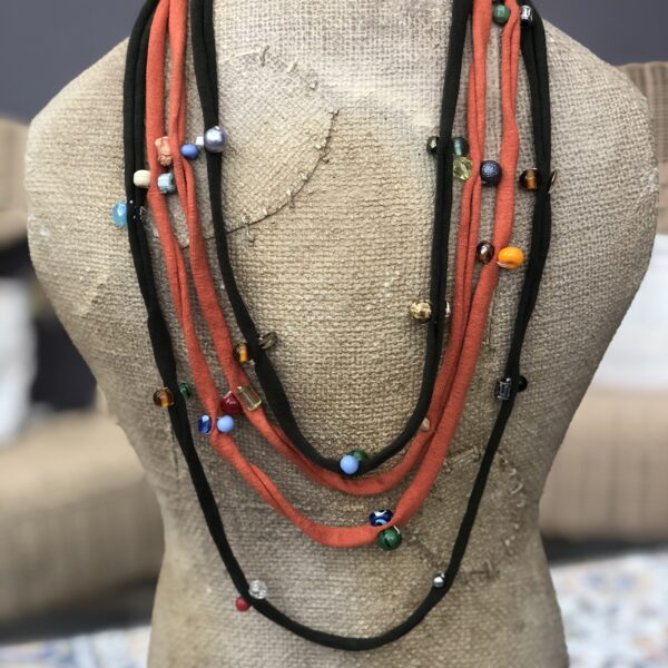 Not Lettuce, handmade upcycled fabric necklace using cotton jersey remnant strands and pre-used beads