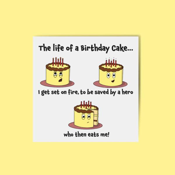 Funny birthday cake card