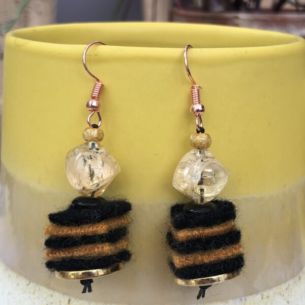 Hat Not Lettuce, handmade upcycled bee drop earrings using felted woollen jumpers and recycled beads