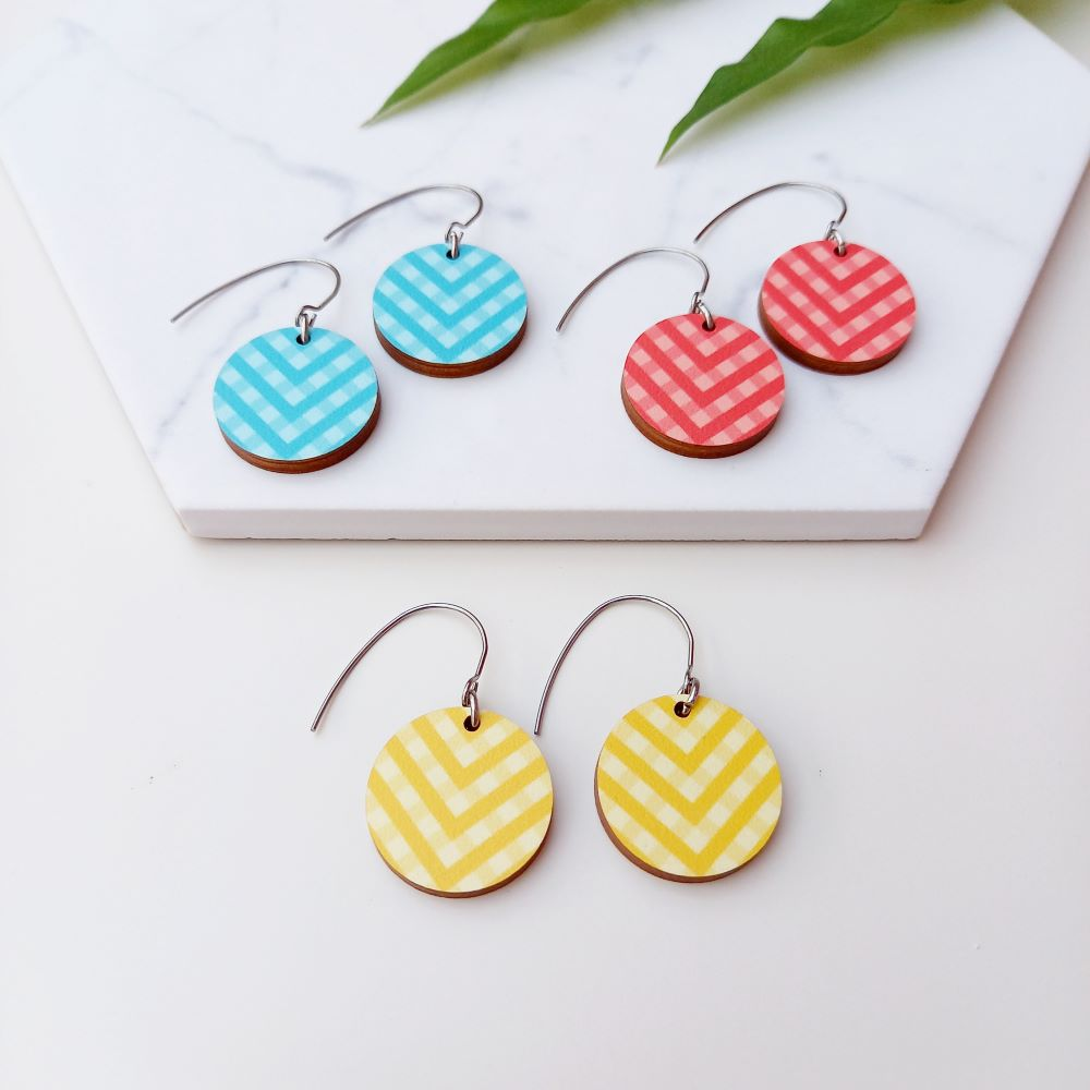 Arrow Wooden Earrings in Blue Red And Yellow Unique Ella Sustainable Jewellery