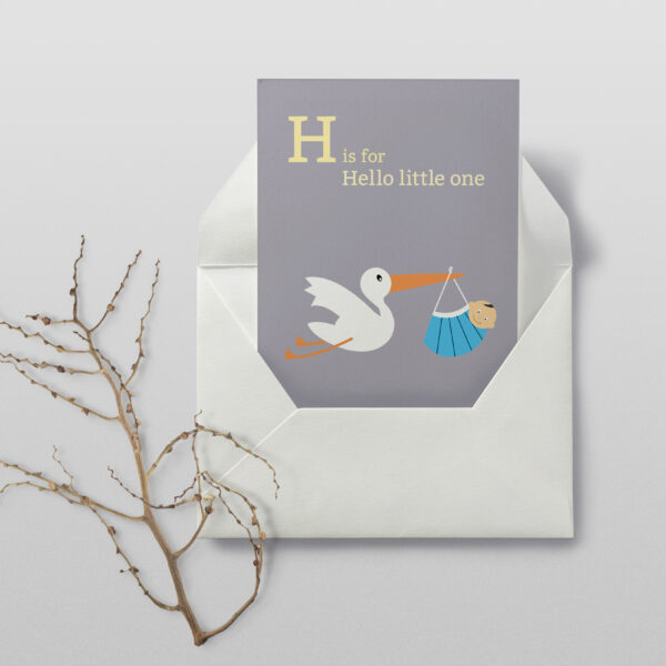 Creative Pickle New baby/New parent card - Pandemic baby in mask, stork