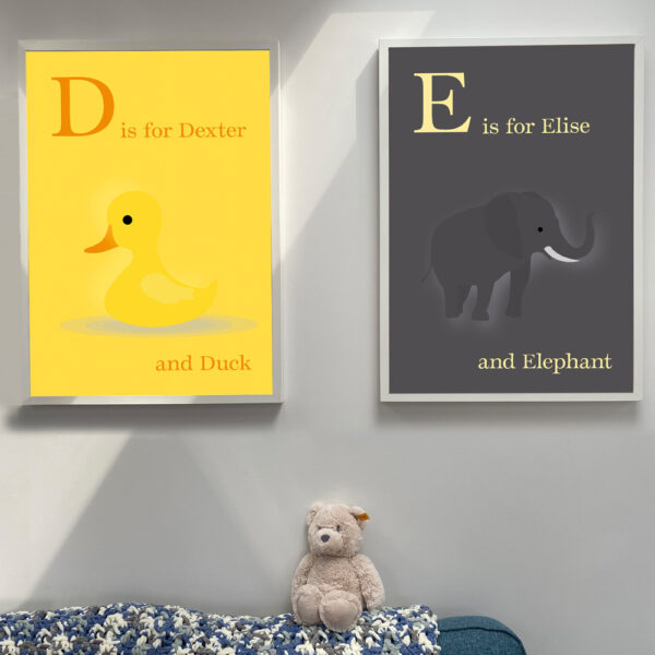 Creative Pickle Alphabet prints personalised, animals duck and elephant