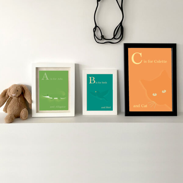 Creative Pickle Alphabet prints personalised, animals alligator, bird and cat