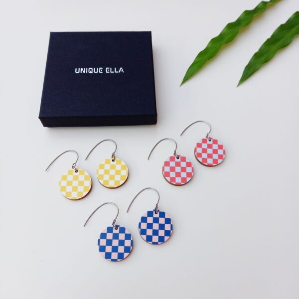 Chess Wooden Earrings in Blue Red And Yellow Unique Ella Sustainable Jewellery