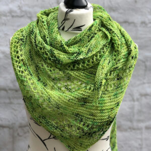 Handknit Variegated Green Toned Shawl made with Hand Dyed BFL Wool