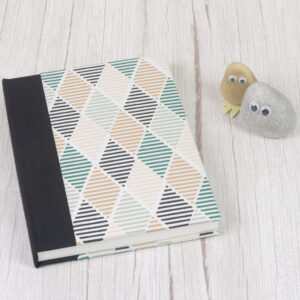 pebblepeoplepaper, A5 Watercolour Sketchbook with Green Diamond Geometric Design with Fabric Cover