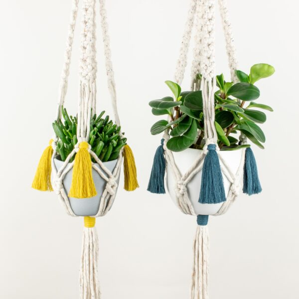 Rima Linden makes macrame plant hangers, recycled cotton colourful macrame plant hanger with tassels and wooden ring