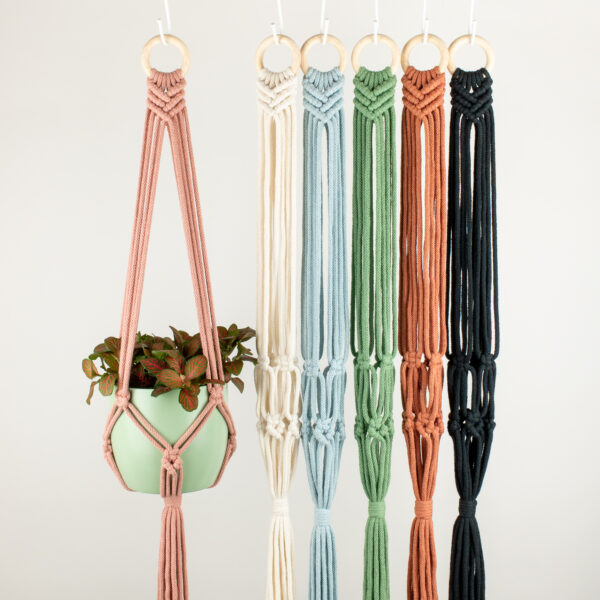 Rima Linden makes macrame plant hangers, recycled cotton colourful macrame hanger, plant pot hanger with wooden ring