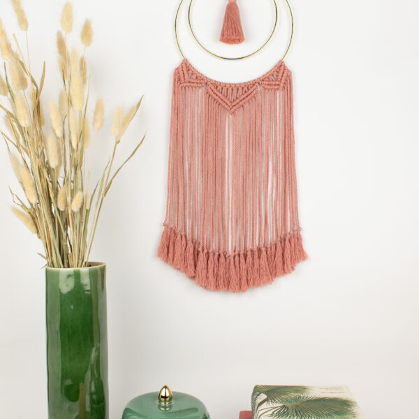 Rima Linden makes macrame wall hanging, recycled cotton wall hanging with gold colour hoop and tassel