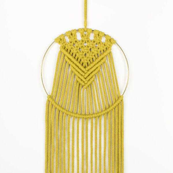 Rima Linden makes macrame wall hanging, recycled cotton colourful modern wall hanging with gold colour hoop