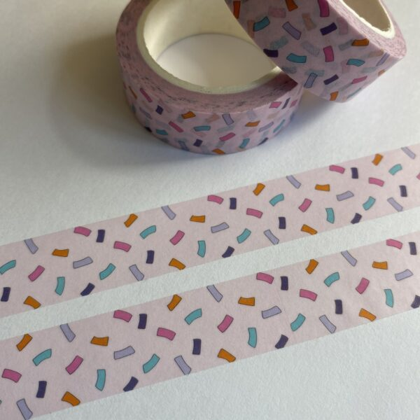 Pink Washi Tape with blue, purple and pink confetti design