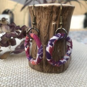 Hat Not Lettuce, handmade upcycled hooped earrings using vintage scraps wrapped around metal curtain rings