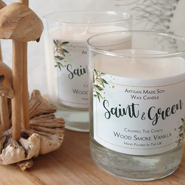 Saint & Green wood smoke vanilla scented soy wax candle. 300ml candle in a glass container.