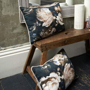 Floral printed linen cushions