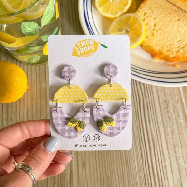 Gingham Lemonade Earrings from Lemon Drops Design
