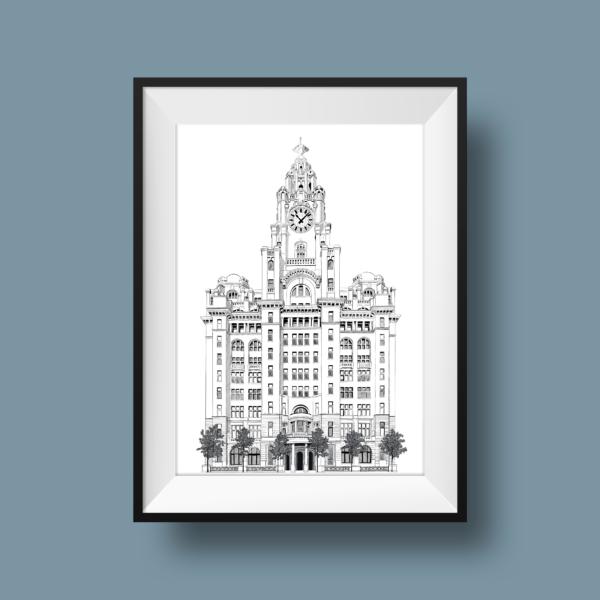 Beth Barnett Illustration, Liverpool Liver Building print