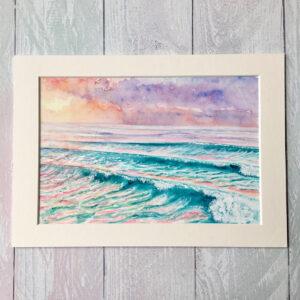 Joy Clifton, 'Promise' Original Seascape Watercolour Painting Seascape watercolour painting of breaking waves with pastel sunset colours