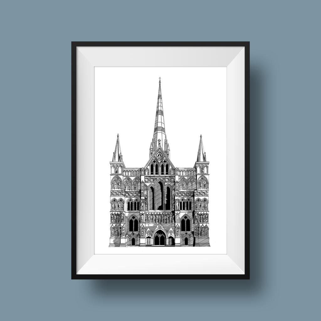 Beth Barnett Illustration, Salisbury Cathedral print