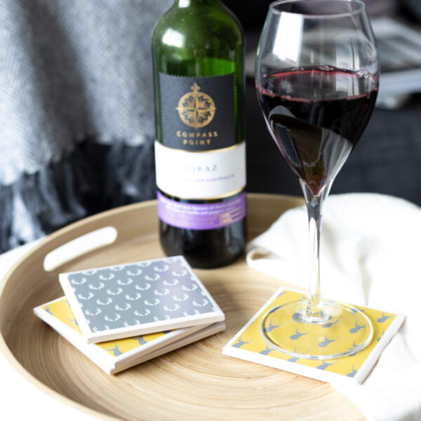 Tile Coasters, Stag Design, by Yellow Room Designs