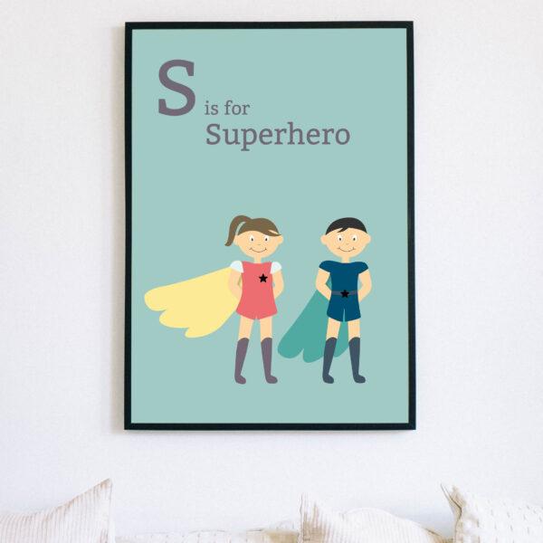 Creative Pickle, S is for Superhero print