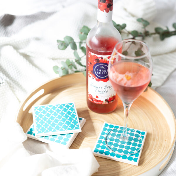 Tile Coasters in Teal Geometric by Yellow Room Designs